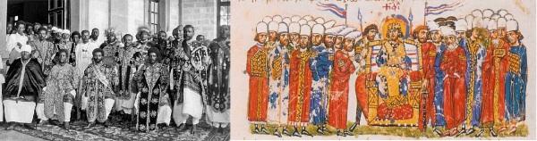 O imperador etíope Haile Selassie e o imperador bizantino Teófilo (813-842) em meio de seus respectivos cortesãos: notem a semelhança dos trajes aristocráticos.