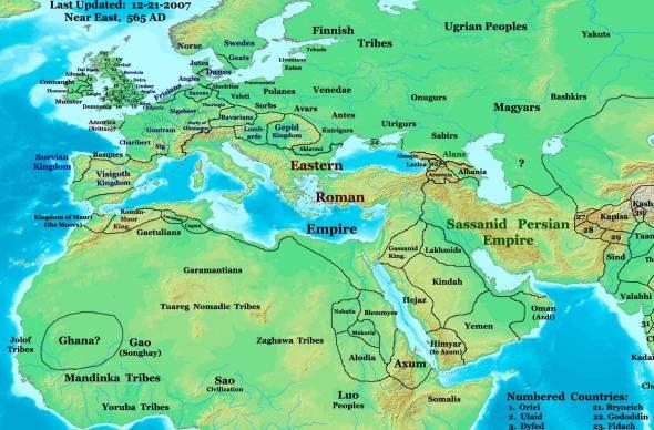 Norte de África, Europa e Oriente Próximo no final do século VI. O Reino Gassânida localiza-se no NO da Península Arábica.